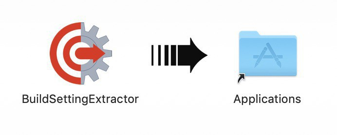 Image of BuildSettingExtractor icon with an arrow pointing to the Applications folder icon.